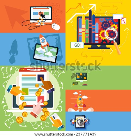 Flat design concept of new business project or new product start up, seo and pay per click internet advertising. Raster version - stock photo