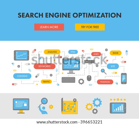 Flat design concept web banner for search engine optimization. Modern flat horizontal banner for seo. Creative style concept for search engine optimization.