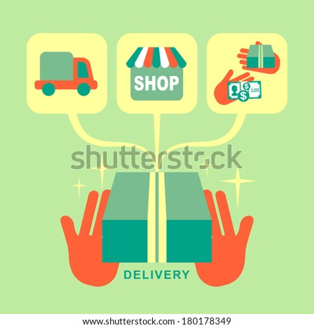 flat design delivery concept icons set for web and mobile services and apps - stock photo