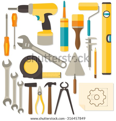 Flat design DIY and home renovation tools isolated on white background. Rasterized Copy - stock photo
