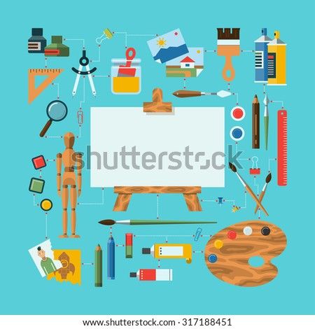 Flat design fine art concept illustration with icons of art supplies,  painting, drawing, sketching instruments . Easel, palette, wooden mannequin, brushes, pens, pencils, paints. Rasterized copy - stock photo