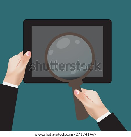 flat, design, hand, mobile, magnifying, clip art - stock photo