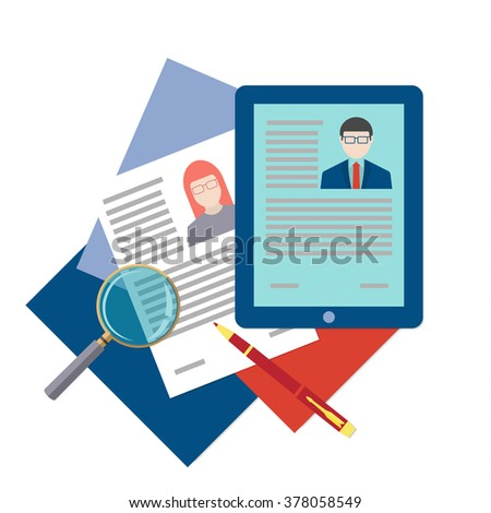 Flat design icon of searching professional staff, analyzing resume, recruitment, human resources management, work of hr. Head hunting concept. Bitmap copy. - stock photo