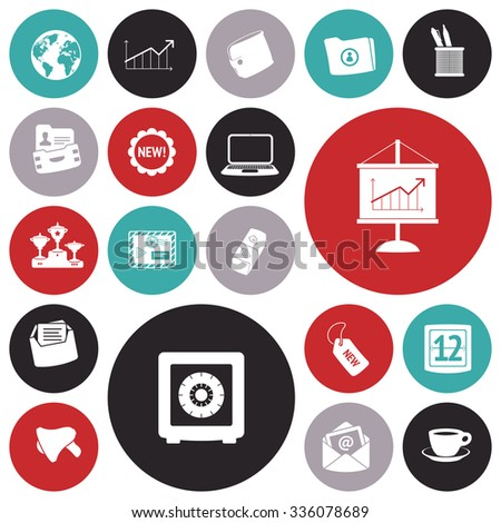 Flat design icons for business and finance. - stock photo