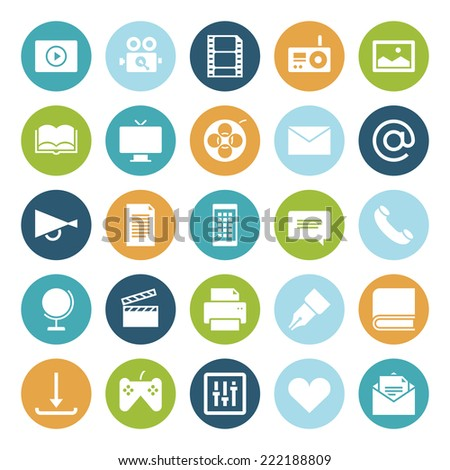 Flat design icons for media. - stock photo