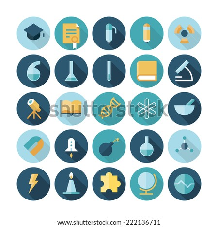 Flat design icons for science and education. - stock photo
