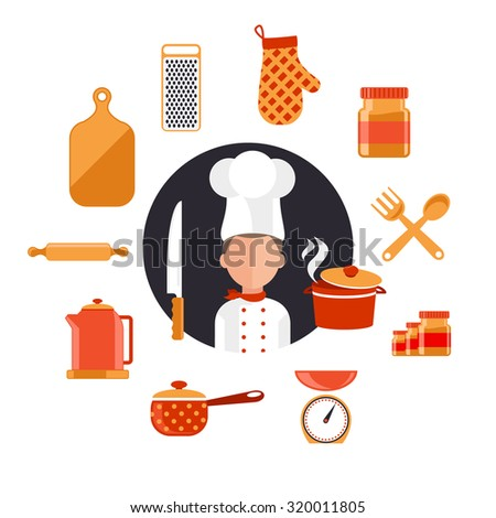 Flat design icons of kitchen utensils with a chef. Cooking tools and kitchenware equipment, serve meals and food preparation elements. Chef and tool character. Set of icons on white. Raster version - stock photo