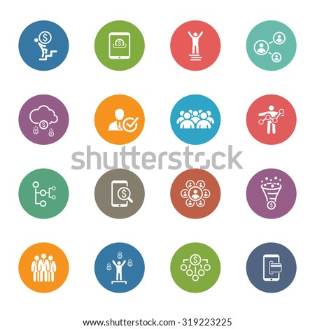 Flat Design Icons Set. Icons for business, management, finance, strategy, planning, analytics, banking, communication, social network, affiliate marketing.  - stock photo