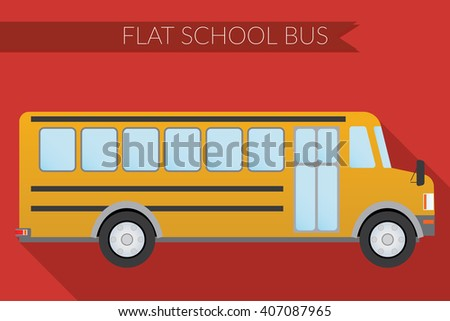 Flat design illustration city Transportation, school bus, side view  - stock photo
