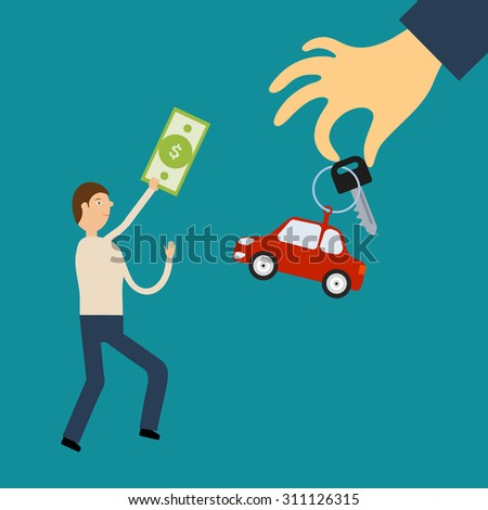 Flat design illustration concept. Man with the bill in hand runs to the hand holding out the key and the tag in the car. Sale of cars - stock photo