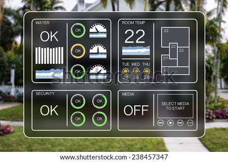 home heating design. Flat design illustration of a home automation dashboard to control  appliances like water heating Design Illustration Home Automation Dashboard Stock