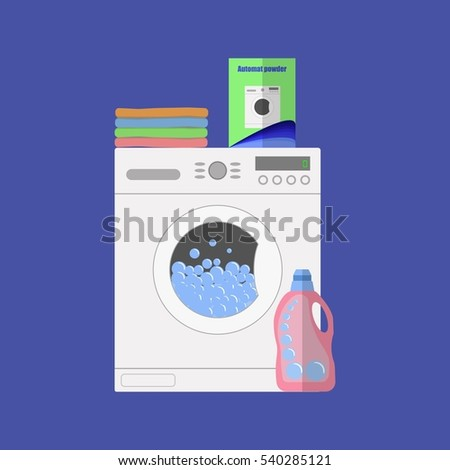 Flat design  illustration of modern washing machine with linen. Washing clothes. Powder and cleanser. Water with bubbles. Pile of clothes.