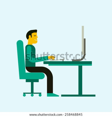 Flat  design illustration of office workplace. Business man working at computer. Cartoon character. Design element