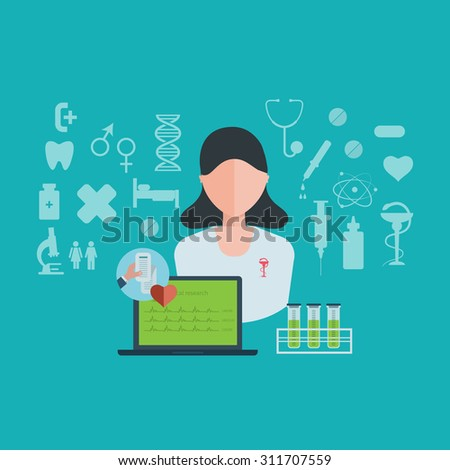 Flat design modern illustration concept for healthcare and online diagnosis. Healthcare system concept.