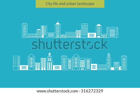 Flat design modern illustration icons set of urban landscape and city life. Buildings thin line icons - stock photo
