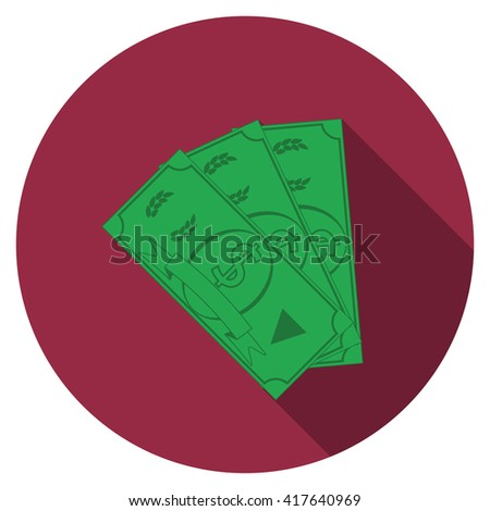 Flat design money icon with long shadow, isolated - stock photo