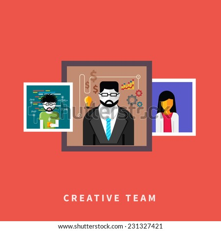 Flat design of creative people web occupations. Portrets avatars in frame on red background. Raster version - stock photo