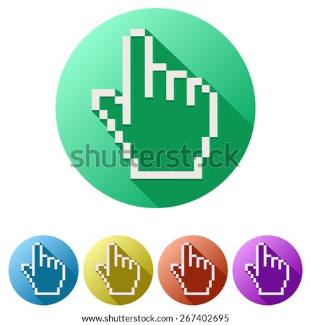 Flat design of Pixel cursor icon click mouse hand.  - stock photo