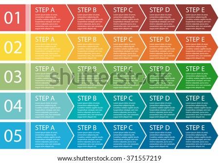 Flat design. Process arrows boxes. Step by step set. Five steps.  - stock photo