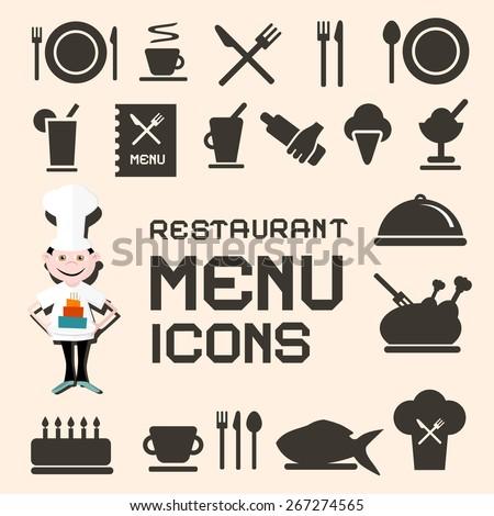 Flat Design Restaurant Menu Icons Set - stock photo