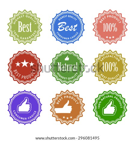 Flat design satisfaction guarantee labels with gesture hand - stock photo
