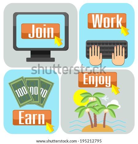 Flat design scheme of successful online work - stock photo