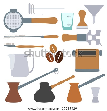 flat design solid colors coffee barista equipment set - stock photo