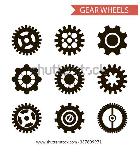 Flat Design Style Black Gear Wheels Icons Set Isolated for Web and Mobole  - stock photo