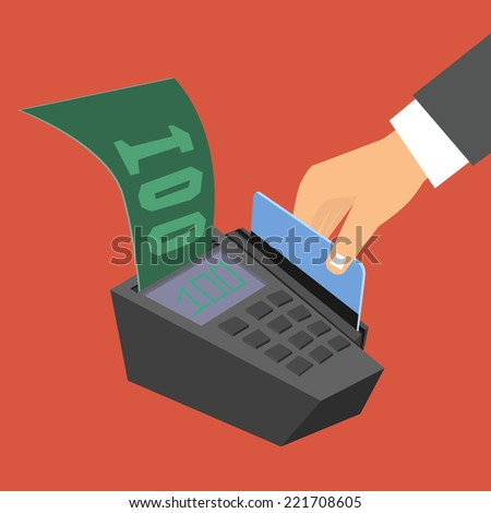 Flat design style illustration. Hand holding a credit card spends in the payment terminal - stock photo