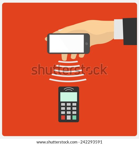 Flat design style illustration. Hand holding a Smartphone spends in the payment terminal - stock photo