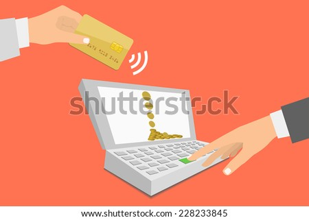 Flat design style illustration. Notebook with processing of mobile payments from credit card. Communication technology concept. Isolated on red background  - stock photo