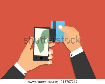 Flat design style illustration. Smartphone with processing of mobile payments from credit card. Communication technology concept. Isolated on red background  - stock photo