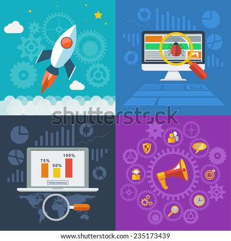 Flat design style modern illustration concept for web and infographic. Management digital marketing and analytics design, graphic design, website seo optimization and web development launch. - stock photo