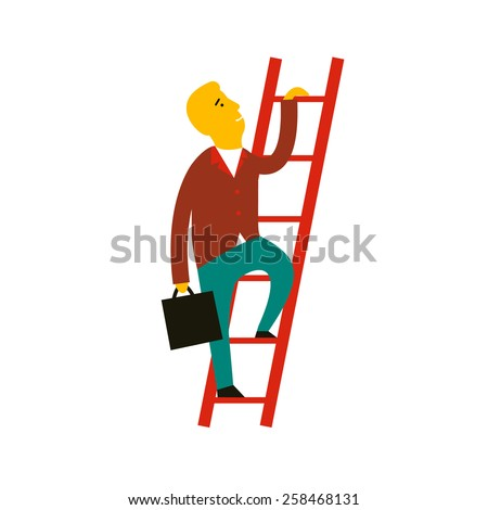 Flat design style modern illustration concept of cartoon man climbing the staircase to success and progress, winner performance and personal career improvement. Isolated on white background - stock photo