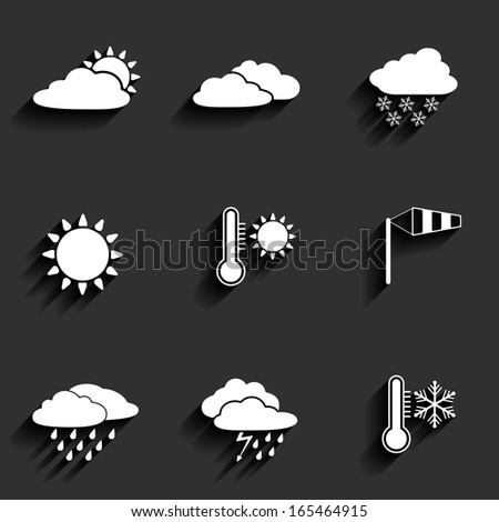 Flat design style weather icons set. Raster version