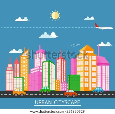 Flat design urban landscape  - stock photo