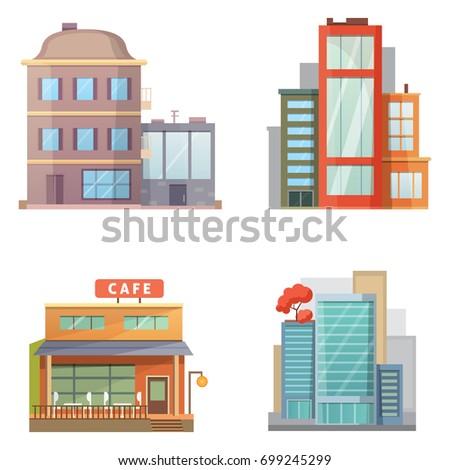 Set hospital building cartoon modern vector stock vector for Construction drawing apps
