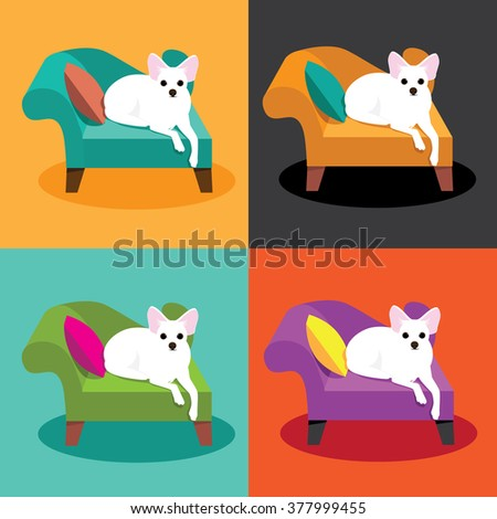 Flat design white Chihuahua on chaise in pop art style