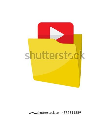 Flat folder icon - Computing - Data and information - stock photo