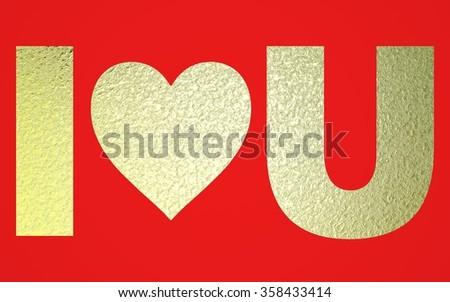Flat Golden Words I Love U Stock Illustration 358433414 Shutterstock