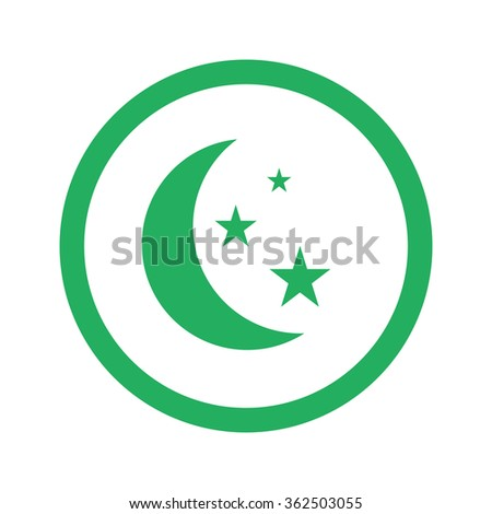 Flat green Moon And Stars icon and green circle