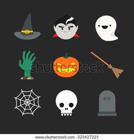Flat halloween icons. Witch hat and broom, vampire, ghost, undead hand, pumpkin lantern, spider web, skull and tombstone - stock photo