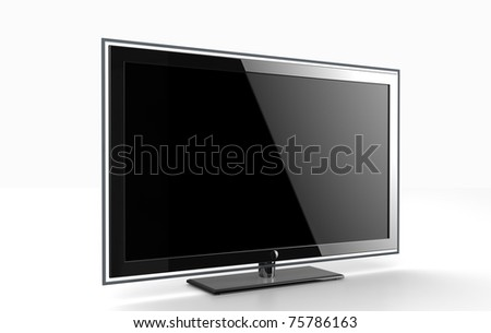 Flat HDTV screen - stock photo