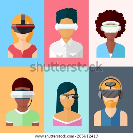 Flat head-mounted displays icon set. Virtual and augmented reality gadgets. Glass and gaming cyber application innovation - stock photo