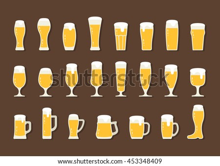 Flat icon beer with foam in beer mugs and glasses, raster version