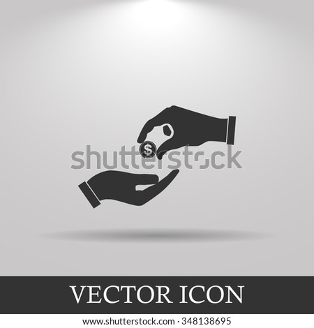 Flat icon, give alms,  Illustration - stock photo