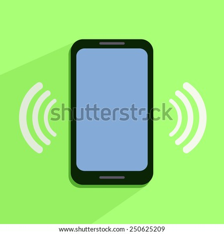Flat Icon of Ringing Phone - stock photo