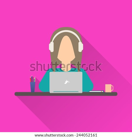 Flat icon woman. Woman working at a laptop with headphones sitting at her desk - stock photo