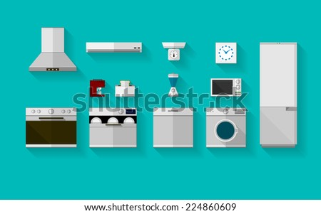 Flat icons for kitchen appliances. Set of gray flat icons with household appliances for kitchen on blue background. - stock photo