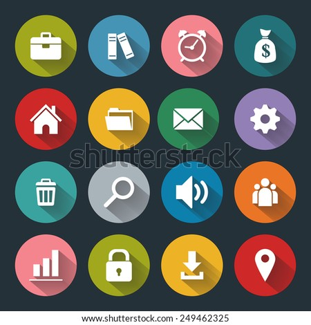 Flat icons for web and mobile, white on colored basis with long shadow